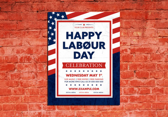 Labor Day Event Poster Layout with American Flag Graphic
