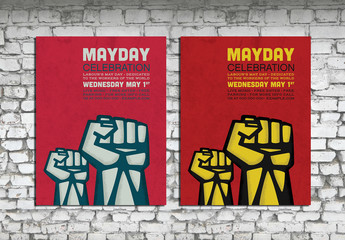Mayday Worker Celebration Event Poster Layout with Fists