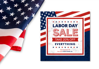 Labor Day Sale Banner Layout with Flag