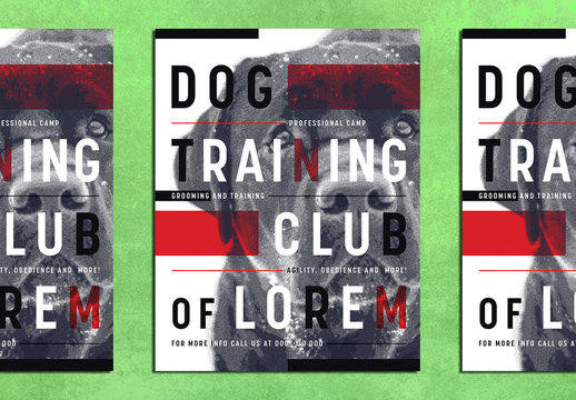 Dog Training Club Poster Layout with Risograph Effect