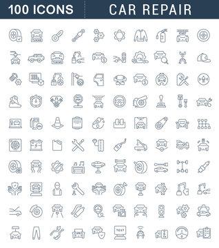 Set Vector Line Icons of Car Repair