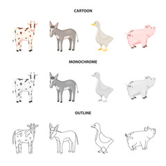Vector illustration of breeding and kitchen  symbol. Collection of breeding and organic  stock symbol for web.