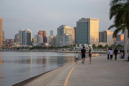 Luanda bay and seaside promenade at sunset, Marginal of Luanda, capital city of Angola- cityscape
