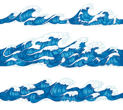 Seamless ocean waves. Sea surf, decorative surfing wave and water pattern hand drawn sketch vector illustration set