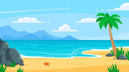 Summer beach background. Sandy seashore, sea coast with palm tree and vocation seaside travel vector cartoon backdrop illustration Wall mural