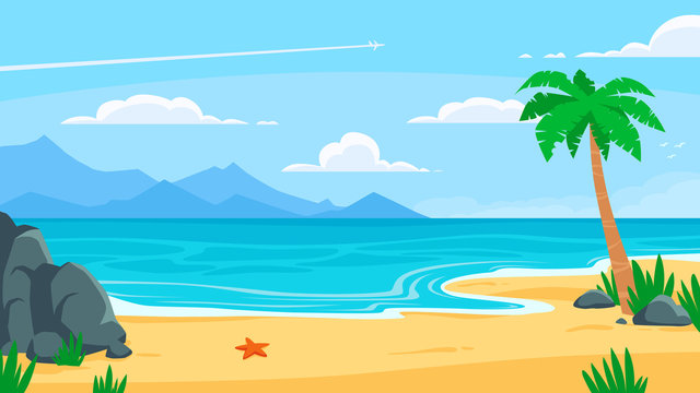 Summer beach background. Sandy seashore, sea coast with palm tree and vocation seaside travel vector cartoon backdrop illustration