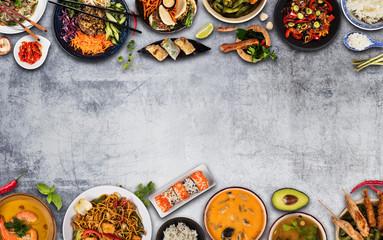 Keuken foto achterwand Eten Top view composition of various Asian food in bowls