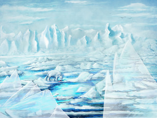 Photo sur Aluminium Fantastique Paysage Painting of an iceberg and icebear