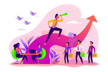 Business leadership, managing skills, leadership training plan and success achievement concept. Vector isolated concept illustration with tiny people and floral elements. Hero image for website.