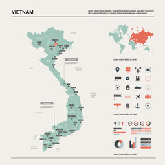 Vector map of Vietnam.  High detailed country map with division, cities and capital Hanoi. Political map,  world map, infographic elements.