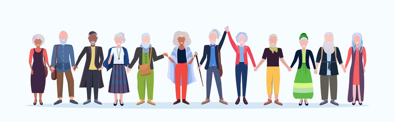 Wall Mural - casual mature men women standing together smiling senior gray haired mix race people wearing trendy clothes male female cartoon characters full length flat white background horizontal