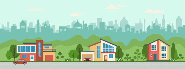 Suburban houses along the street. Set private houses in flat design style. Colorful residential houses and trees.  Fotobehang