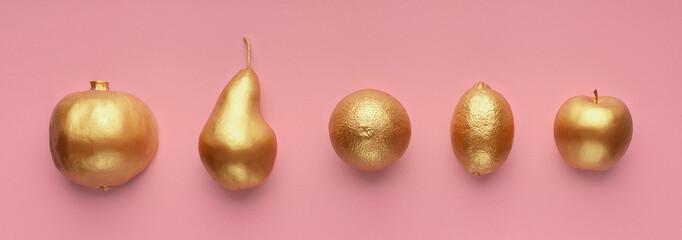 Fruits in golden glaze