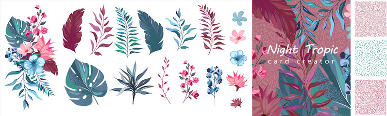 set exotic leaves. Tropical collection with flowers. Floral poster, invite. Vector decorative greeting card creator or Botanic invitation design. Wall mural