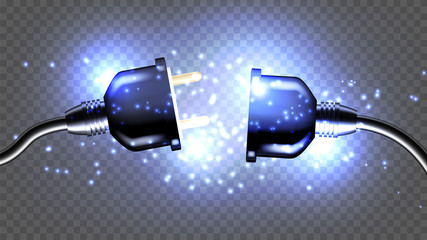 Disconnected Electrical Plug Vector Realistic 3D Illustration. Disconnected Electricity Cable Isolated Clipart. Unplug, Outlet Design Element. Wire And Sparkles On Transparent Background