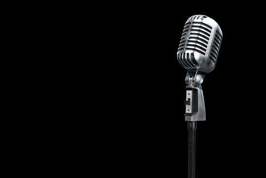 Retro style microphone on black