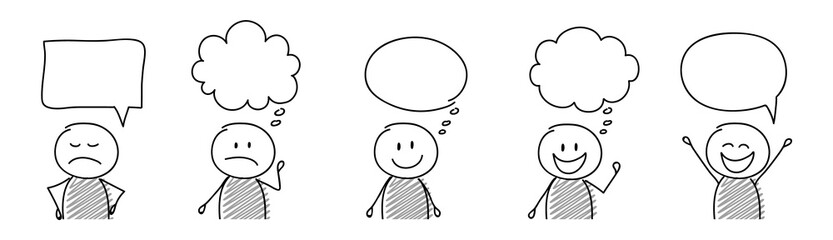 Funny cartoon people with empty speech bubbles - collection. Vector Wall mural