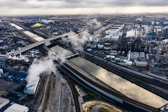 Aerial Photo of Long Beach California Industrial Area with Smoke and Clouds