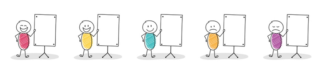 Collection of funny hand drawn stickman with empty whiteboard. Vector