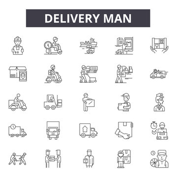 Delivery man line icons, signs set, vector. Delivery man outline concept illustration: man,delivery,service,box,courier,worker,package,job