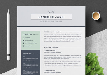 Professional Resume Set Layout with Mint Green Accents