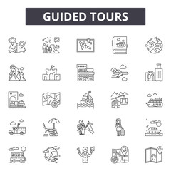 Fototapeta Guided tours line icons, signs set, vector. Guided tours outline concept illustration: guide,tour,travel,tourism,vacation obraz