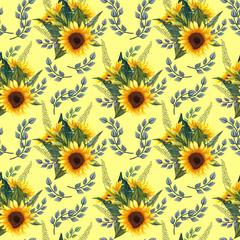 Sunflower seamless pattern. Sunflower fabric background.