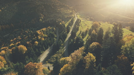 Autumn Sunset Mountain Dense Forest Landscape Aerial View. Multicolored Hill Tree Wood Highland Nature Scenery Overview. Curved Country Road Vacation Holiday Concept Drone Fligh