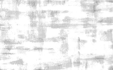 Texture of black lines, scratches, dots on white background. Abstract decorative ink and print graphic pattern.