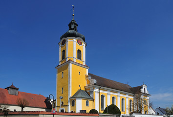 baroque church with onion dome on spire