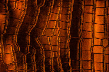 Wall Mural - Dark background - brown crocodile leather texture.