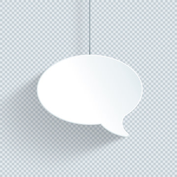 Speech Bubble Hanging On String Single 3d White Vector