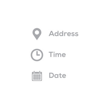 Address, date, time icons vector illustration