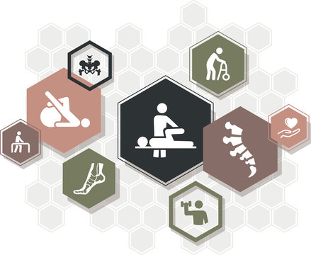 orthopedics / physiotherapy / chiropractic icon concept - treatment, physical therapy - vector illustration
