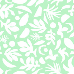 Abstract mint green and white floral background vector. Seamless surface pattern design