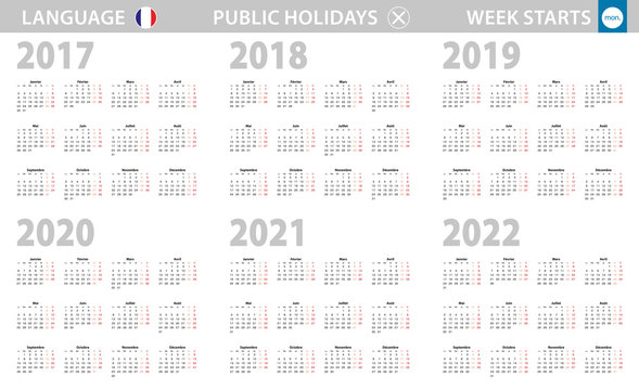 Calendar in French language for year 2017, 2018, 2019, 2020, 2021, 2022. Week starts from Monday.
