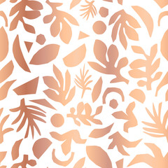Copper foil abstract floral plant shapes seamless vector background. Metallic rose gold pattern.