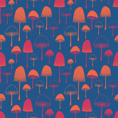 Seamless vector pattern with Mushrooms orange and pink on blue background.