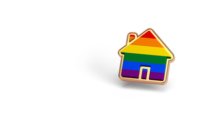 Gay pride rainbow in a home shape isolated on white background. Copy space on the left side. LGBTQ people rights to live together concept. 3D rendering