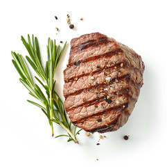 Photo sur Aluminium Steakhouse grilled steak and rosemary