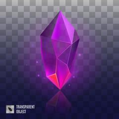 Gem or Crystal. Purple Magic Gemstone. Precious Gem Icon. Luxury Symbol on the Transparent Background