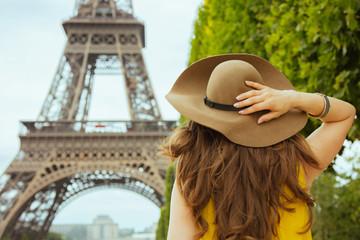 stylish woman in Paris, France having excursion