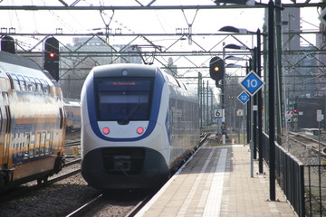 SLT local commuter train at the trainstation of Den Haag Laan van NOI in the Netherlands