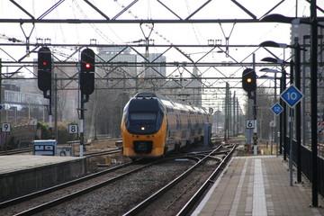 VIRM intercity double decker train at the trainstation of Den Haag Laan van NOI in the Netherlands