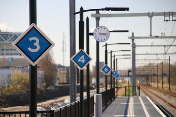 stop signs based on length of train on platform on the brand new train station Zoetermeer-Lansingerland in the Netherlands