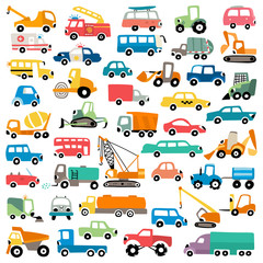 Foto auf AluDibond Cartoon cars Cartoon cars vector set