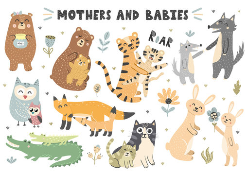Mothers and babies animals collection. Cute vector elements for your design