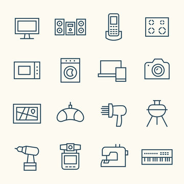 Home electronics line icon set