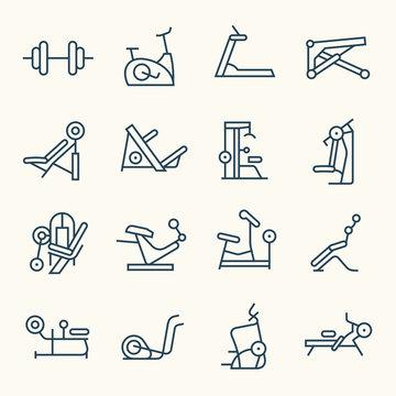 Gym line icon set