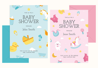 Baby Shower Invitation Card Design Layout with Illustrative Elements
